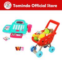 Tomindo Mainan Anak Kasir Kasiran Cash Register Troli Supermarket Biru