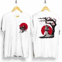 T-Shirt Samurai Anak Baju Kaos Distro Jepang Pria Wanita Putih Cotton