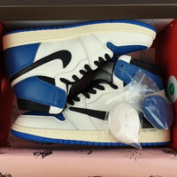 Sepatu Hype Nike Air Jordan 1 High UA/PK Travis Scott Fragment Blue