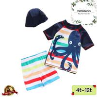 Set Baju Renang Anak Laki-Laki Gurita Stripe + Topi Baju Diving