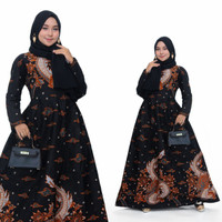Baju dress gamis wanita batik katun halus motif naga jumbo ld 120