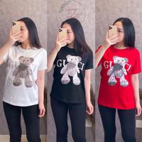 Baju Kaos Wanita Motif GcBear | TShirt Cewek Lengan Pendek | Baju Kaos