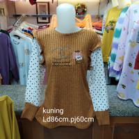 baju wanita atasan bahan rajut - Kuning