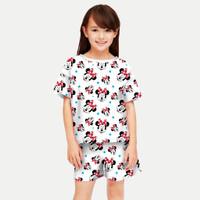 Setelan Anak Perempuan 5-12 tahun/Baju Stelan Kaos Pendek Anak Cewek