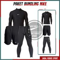 3 in 1- Setelan Baju Manset Olahraga Pria Wanita Legging Celana Pendek