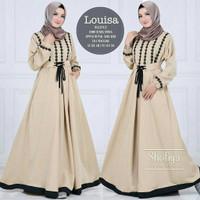 Baju Gamis Wanita Remaja DewasaMuslim Syari Terbaru Louisa Dress Renda - Cream