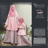 AR 05 Baju Muslim Gamis Couple Ibu Anak set Cadar Basegeh Arafah Pink