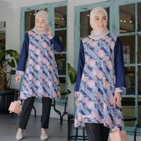 Baju Wanita Tunik Kombinasi Batik Fashion Daun Bunga Navy