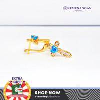 Anting Emas Model Salib Mata Biru (gold) Kadar : 700 %