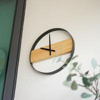 UCHII Exclusive Wall Clock Wooden Steel | Jam Dinding Analog Minimalis