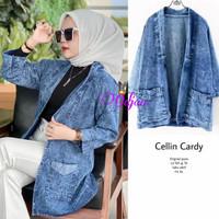 New Cellin Cardi Cardigan Jeans Wanita Baju Hangout Modis Casual