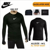 Manset Baju Baselayer Lengan Panjang Nike Polos Ketat Pria Dry Fit - Putih