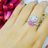 Cincin hello Kitty emas putih kadar 750/17k 4.94gr