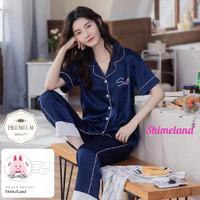 Piyama Wanita Dewasa Satin Premium Tangan Pendek Celana Panjang