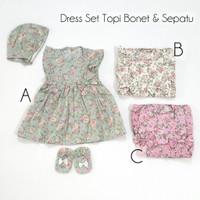 Baju Bayi Perempuan Dress Set Topi Bonet Dan Sepatu