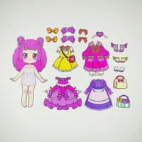 Bongkar pasang baju kertas magnet Dress up doll busy page Purple
