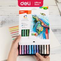 Deli EC20120 School Crayon/Krayon-Oil Pastel Smooth Rich Blending 24C