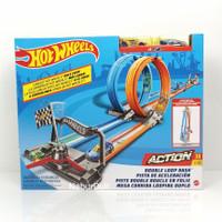 Hot Wheels Track Double Loop Dash 2 Jalur Balap Ori Mattel Hotwheels