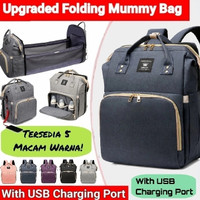 Tas bayi backpack multifungsi expand tempat tidur bayi diaper bag - blue