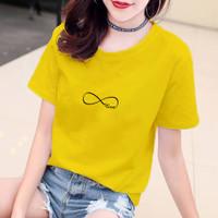 YOURSTYLE1119 - KAOS INFINITY LOVE BTS BAJU KAOS WANITA DISTRO UNISEX - Kuning, S