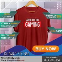 Baju Kaos Tshirt Distro Terbaru Premium Gamers Addicted To Gaming - Merah, M