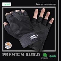 Sarung Tangan Motor Setengah Jari Half Finger Anti Slip Premium Import - Leather Black