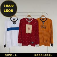 PROMO Kaos Distro Lengan Panjang Pria - Baju Trend Streetwear Size L - LS04L