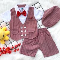 Baju setelan kemeja rompi celana motif pergi bestseller bayi cowok