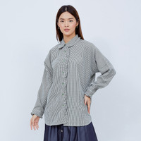 NONA Oversized Wendy Shirt Army Green Plaid