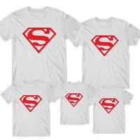 Kaos couple keluarga logo superman / baju motif super hero - Anak, S