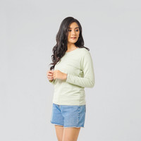 LEMONE Suparon Spandek Atasan Lengan Panjang Baju Polos Kaos Wanita