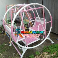 ayunan besi bulat isi 2 anak warna pink putih