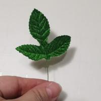 Daun artificial bahan beludru untuk kerajinan bunga tangkai - 2