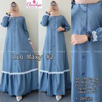 Baju Gamis Wanita Muslim Remaja Dewasa Terbaru Lio Maxy Dress Renda - Denim