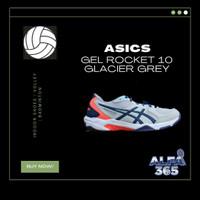 Sepatu Voli / Badminton Asics Gel Rocket 10 Grey Red Volly Volley