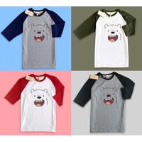 Baju Kaos Raglan muka grizzly face bare bears beruang senyum