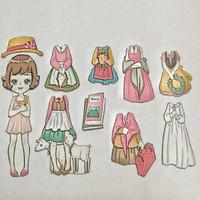 Bongkar pasang baju kertas magnet Dress up doll busy page Farmer GIrl