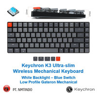 Keychron K3 BLUE Switch Low Profile GATERON Mechanical WHITE Backlight