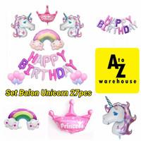 Set Balon Unicorn Ulang Tahun Anak Set Balon Foil Unicorn Backdrop