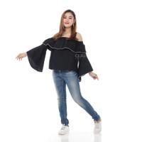 Atasan Sabrina Top Blouse Wanita Off Shoulder Lengan Panjang Lebar Bel
