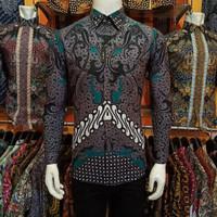 Baju Batik Pria Slimfit Casual Terbaru size M L XL lengan panjang - Biru, M