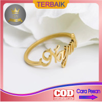 Cincin ukir nama titanium anti karat ring huruf lapis emas couple unik