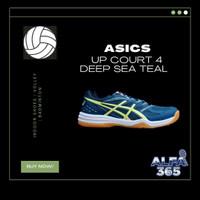 Sepatu Voli / Badminton Asics Gel Upcourt 4 Teal Yellow Volley Volly - 40.5