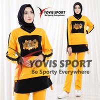 Baju Senam Wanita / Stelan Olahraga wanita Gym Lari/ Sablon Ori Yovis - kuning hitam, L