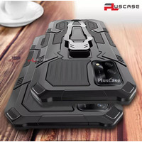 CASE OPPO A74 4G ROBOT RING STAND MILITARY HARD COVER SILIKON CASING - Hitam