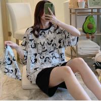 Baju Tidur Setelan Wanita Celana Pendek Motif Animasi 2522