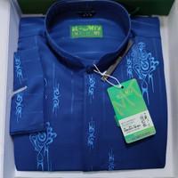 busana muslim pria terbaru baju koko lengan panjang almia al-mia warna - Biru, S