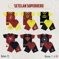 SETELAN KAOS ANAK SUPERHERO 1-6 Tahun Brand Little Kids / KAOS ANAK PR - All Size