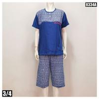 Setelan Wanita Celana 3/4 Motif Batik 8334A XL - Biru