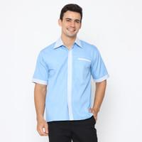 Kemeja office seragam kerja baju kantor atasan pria unisex SLR - Biru Muda, S